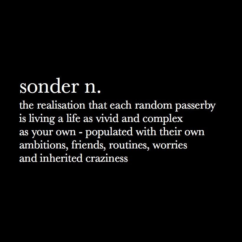The Vividness of Other's Lives — sonder, n.